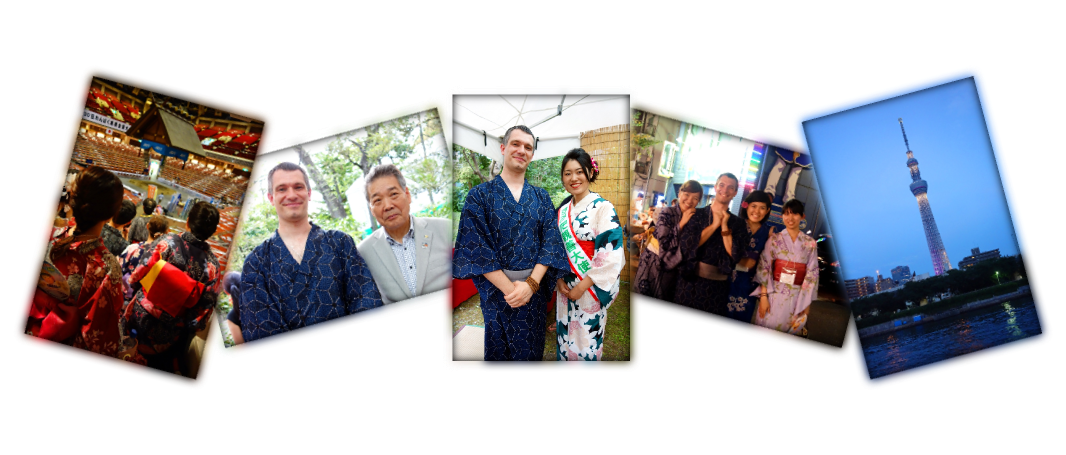 Japanese photomontage of Yukata De Guide Tour in 墨田区 (Sumida ward, Tokyo, Japan) on 02 August 2014.
