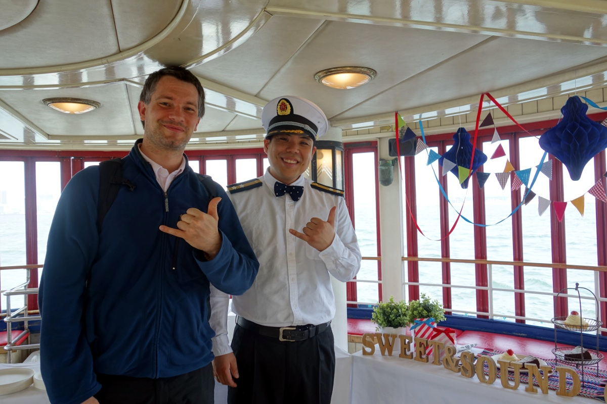 Ken with Sébastien Duval on the Sweet & Sound Cruise boat (Minato ward, Tokyo, Japan) on 18 April 2015.