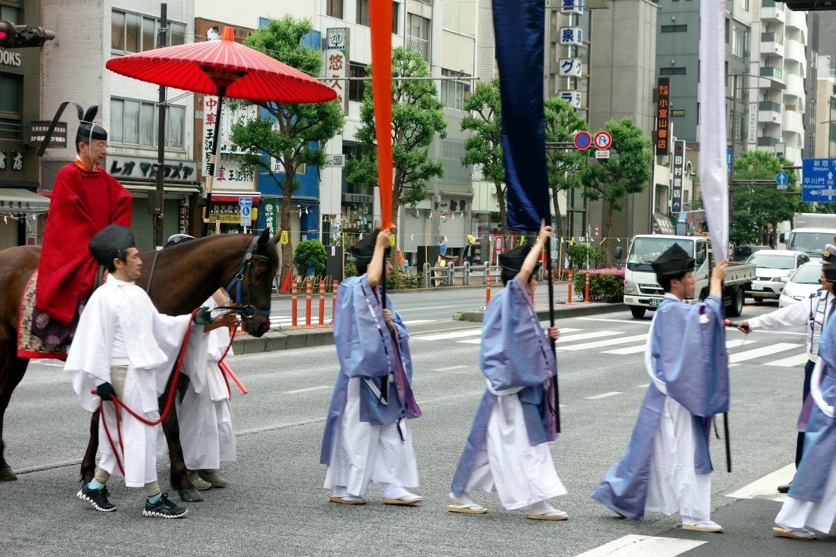 Horse & costumes during Kanda-matsuri in Jimbocho area (Chiyoda ward, Tokyo, Japan) on 09 May 2015.
