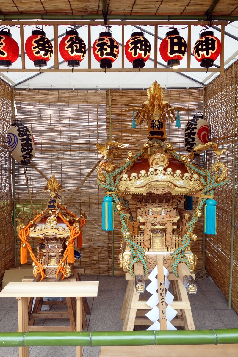 Small & big omikoshis of Jimbocho-itchome during Kanda-matsuri in Jimbocho area (Chiyoda ward, Tokyo, Japan) on 09 May 2015.